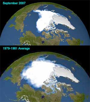 The Arctic ice cap reached its smallest extent ever in 2007 (above